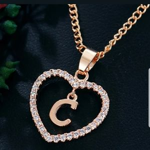 New gold tone letter love heart Crystal necklace
